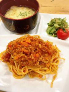 食育事業の開発メニュー ミートソーススパゲッティ
